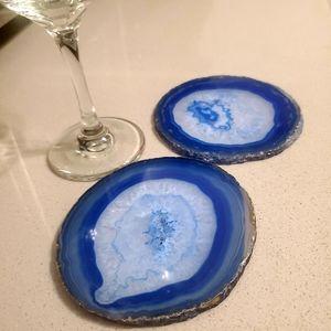 ELECTRIC 🦋 BLUE Brazilian Agate Coasters Set of 2